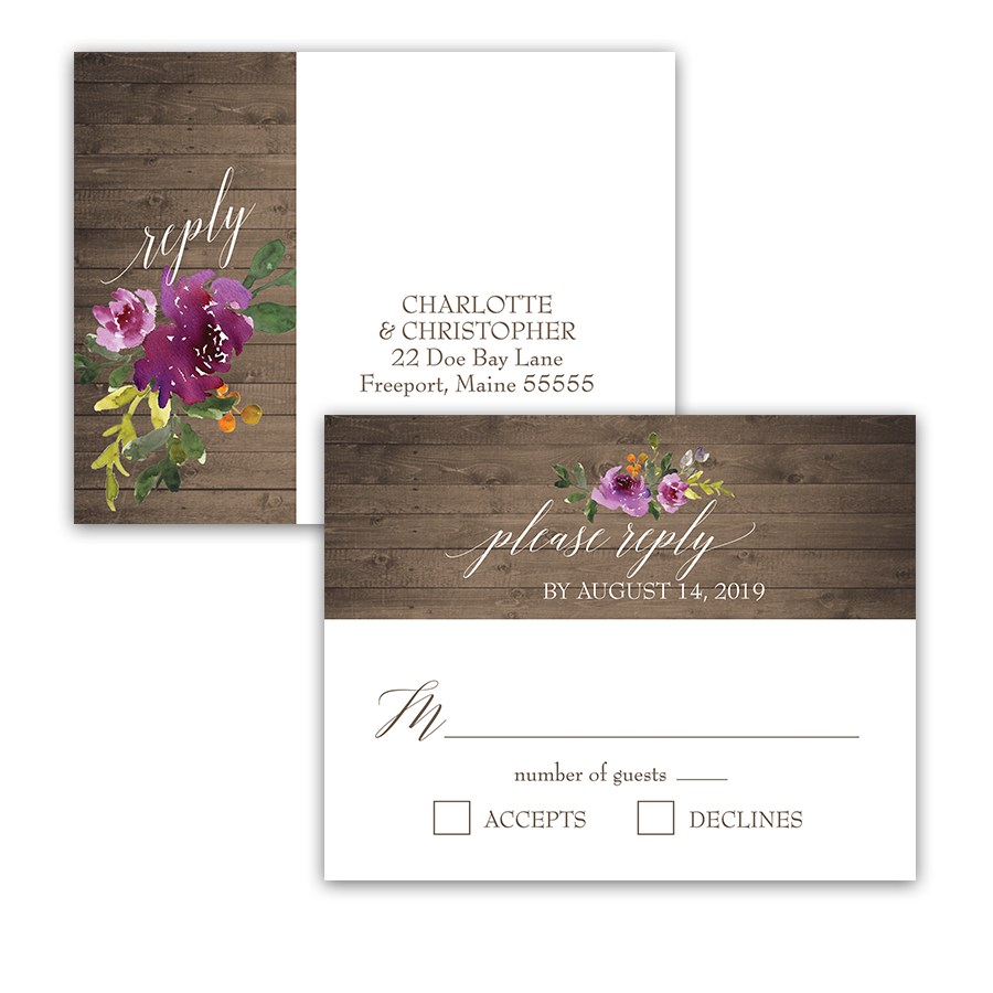 Rustic Purple Floral Wedding RSVP Response Postcard