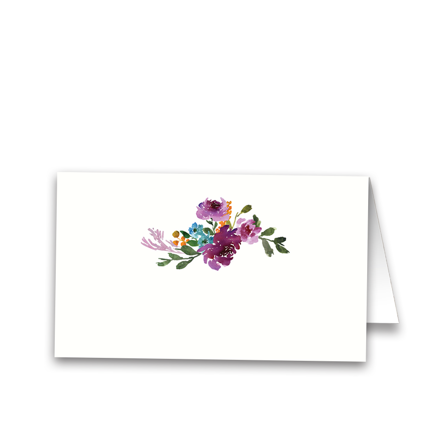 Watercolor Floral Purple Wedding Table Seating Cards
