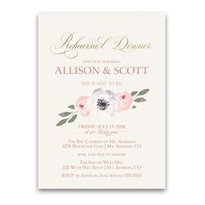 Blush Gold Floral Wedding Rehearsal Dinner Invitation