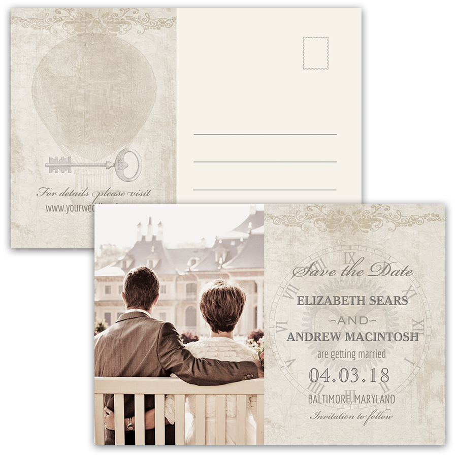 Steampunk Wedding Vintage Industrial Photo Save the Date