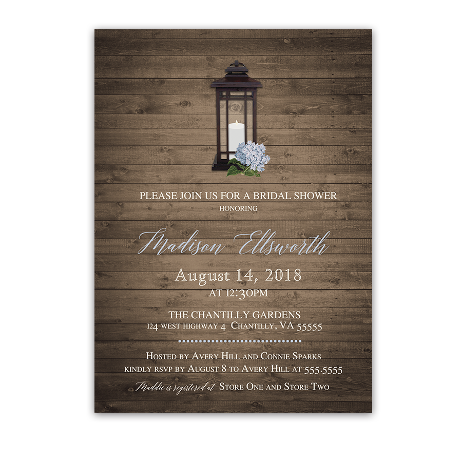 Rustic Lantern Floral Bridal Shower Invitations