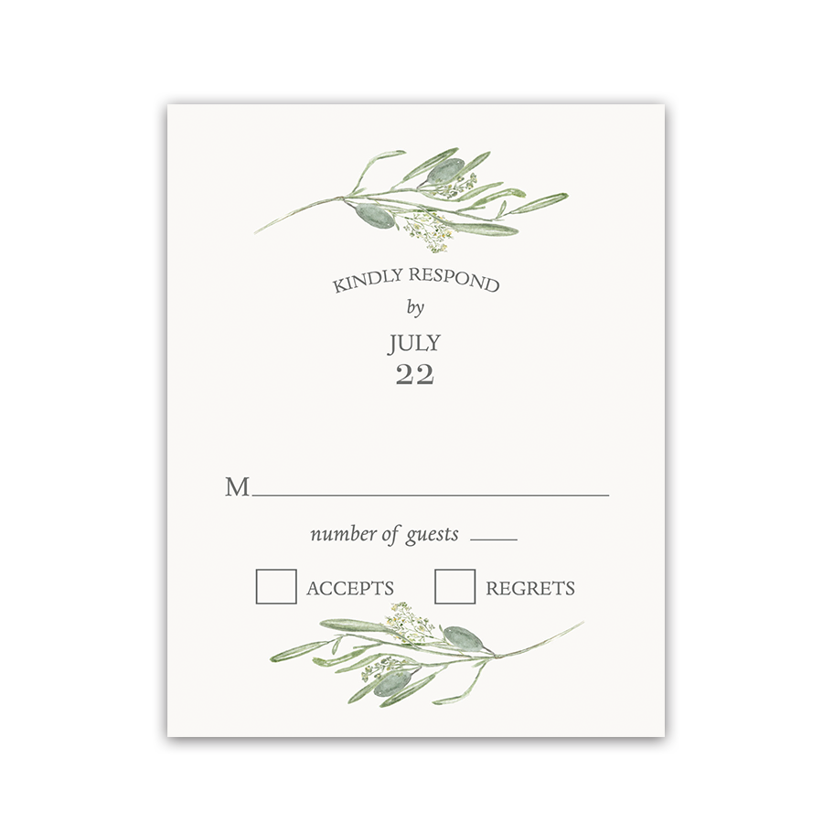 Laurel Leaves Watercolor Greenery Wedding RSVP Card