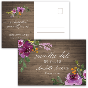 Purple Watercolor Flowers Save the Date Postcards