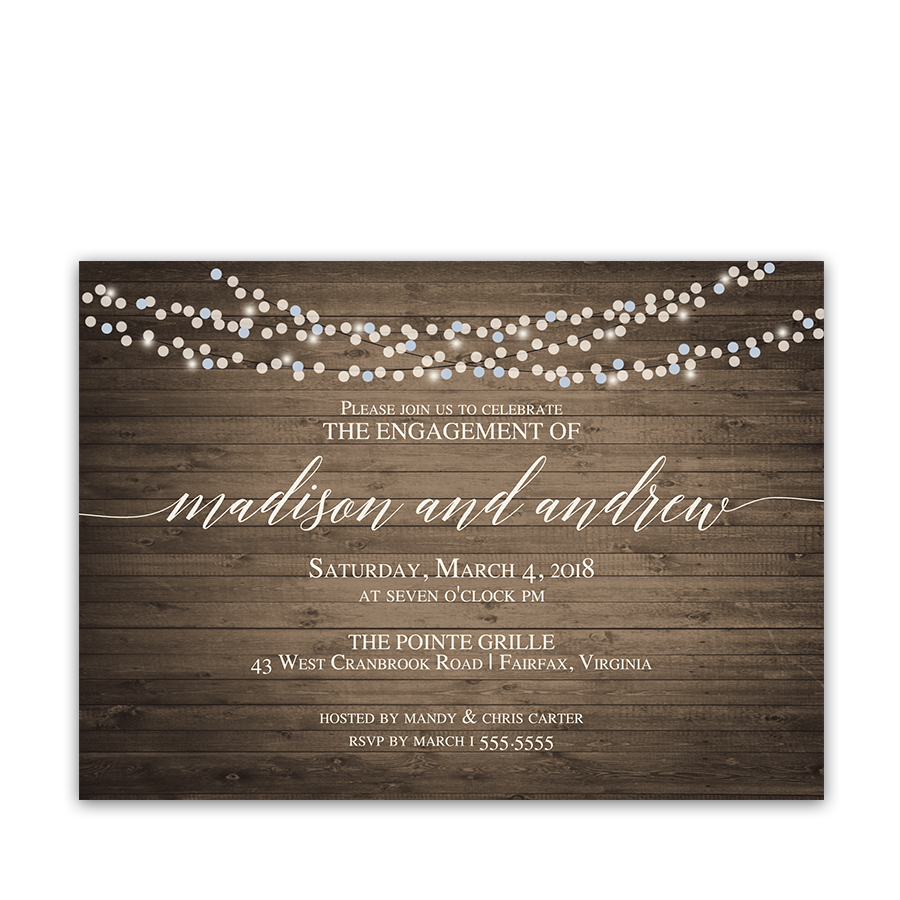 Rustic Wood Engagement Party Invitations String Lights