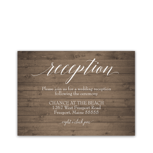 Rustic Barn Wood Script Fonts Wedding Reception Card