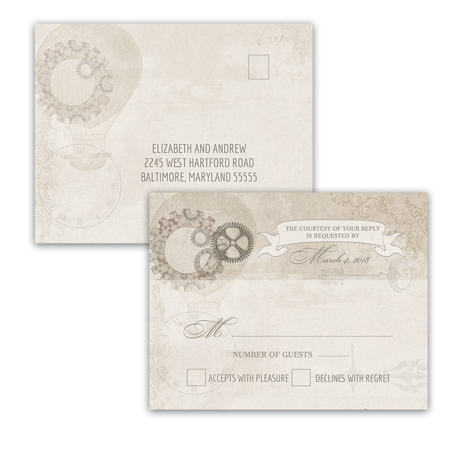 Steampunk Wedding Vintage Industrial Chic RSVP Postcard