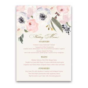 Blush Gold Watercolor Floral Boho Chic Wedding Menu
