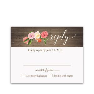 Hand Painted Watercolor Floral Wedding RSVP Cards