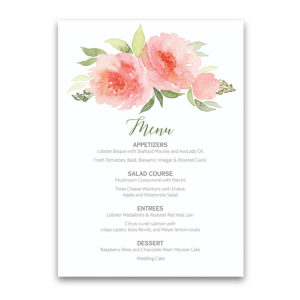 Coral Watercolor Floral Bohemian Wedding Menu