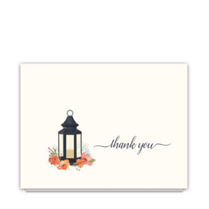 Wedding Thank You Cards Rustic Lantern Coral Florals
