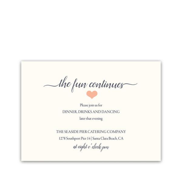 Floral Coral Navy Wedding Reception Details Card