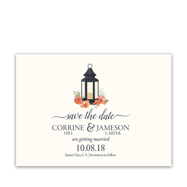 Iron Lantern Coral Blue Wedding Save the Date Cards
