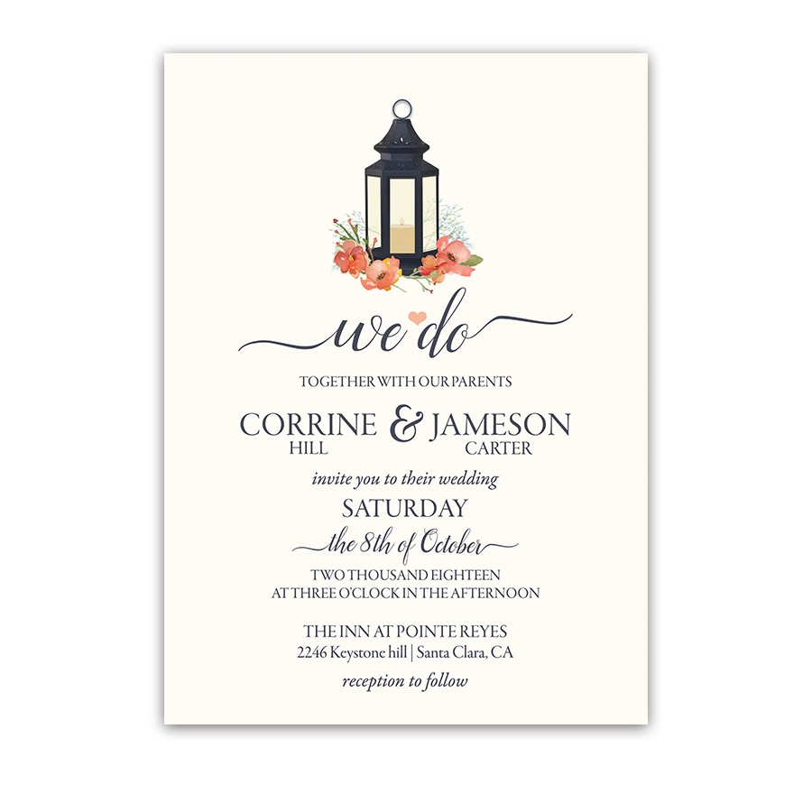 Navy Blue Lantern Wedding Invitations Coral Flowers
