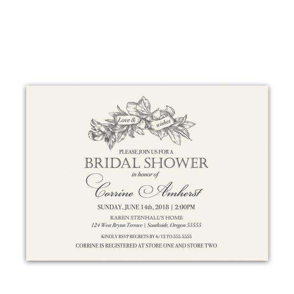 Vintage Greenery Wreath Bridal Shower Invitations