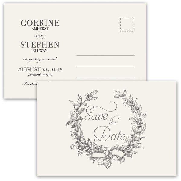 Unique Save the Date Wedding Postcards Vintage Wreath