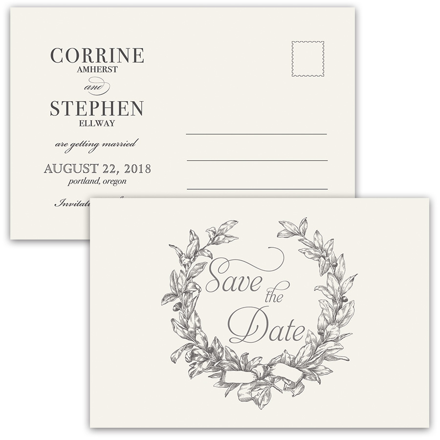 Unique Save the Date Wedding Postcards Vintage Wreath