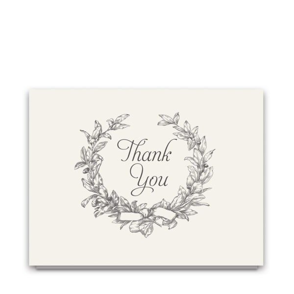 Wreath Wedding Thank You Cards Vintage Greenery