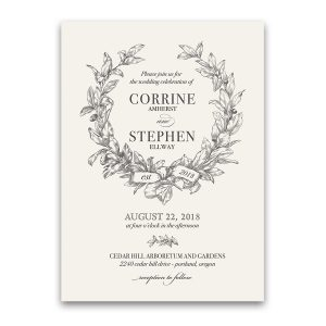 Custom Wreath Wedding Invitations Vintage Style