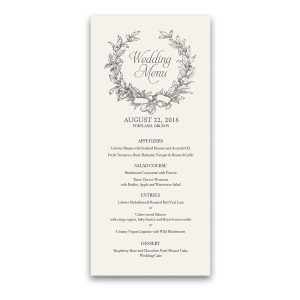 Vintage Wreath Greenery Boho Chic Wedding Menu