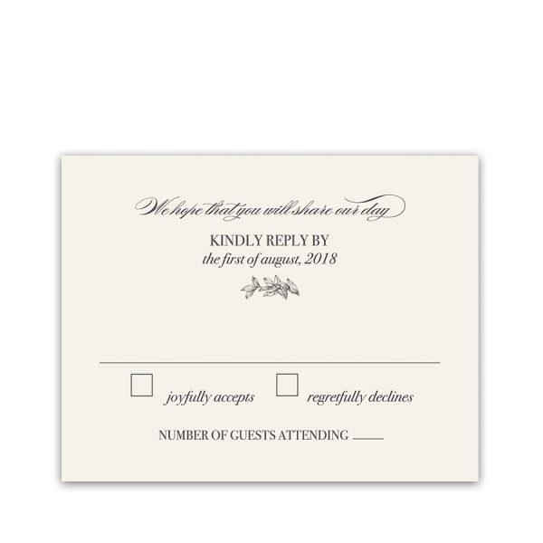 Wedding RSVP Cards Vintage Wreath of Greenery