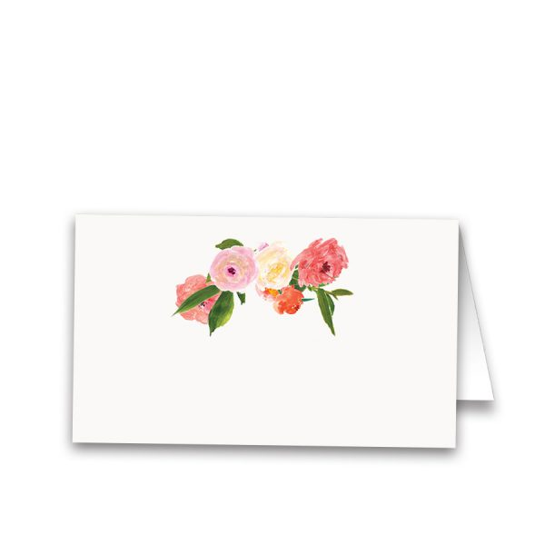 Watercolor Floral Coral Pink Wedding Table Escort Card