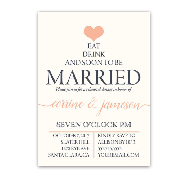 Navy Blue and Coral Wedding Rehearsal Dinner Invites