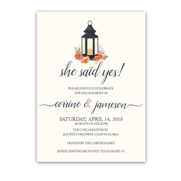 Lantern Engagement Party Invitation Navy Coral