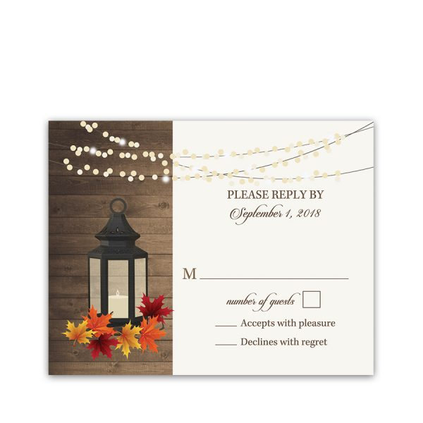 Rustic Fall Lantern Autumn Leaves Wedding RSVP Card