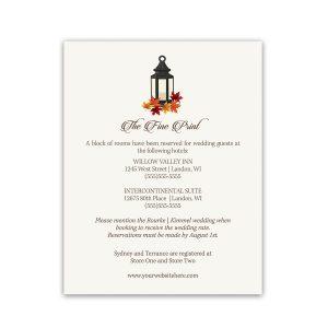 Rustic Fall Lantern Wedding Guest Information Cards