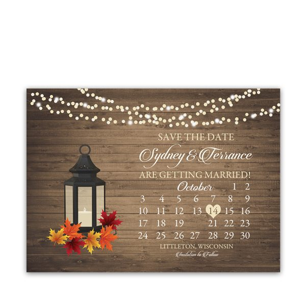 Rustic Fall Wedding Save the Date Calendar Style