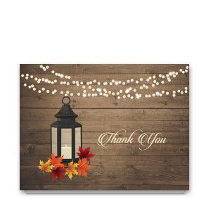 Rustic Fall Leaves Lantern Wedding Thank You Card