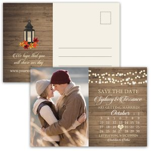 Rustic Fall Lantern Photo Save the Date Calendar Postcards