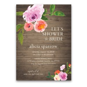 Watercolor Floral Greenery Rustic Bridal Shower Invitations