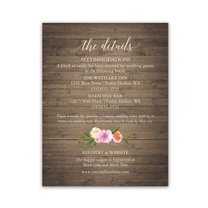Watercolor Floral Wedding Guest Information Insert Cards