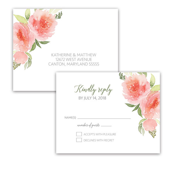Watercolor Floral Coral Peach Wedding RSVP Postcards