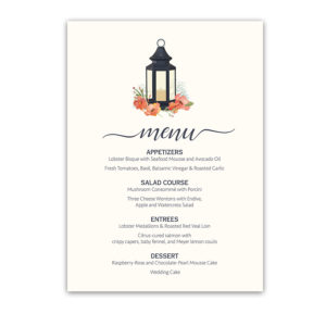 Metal Lantern Watercolor Florals Custom Wedding Menu