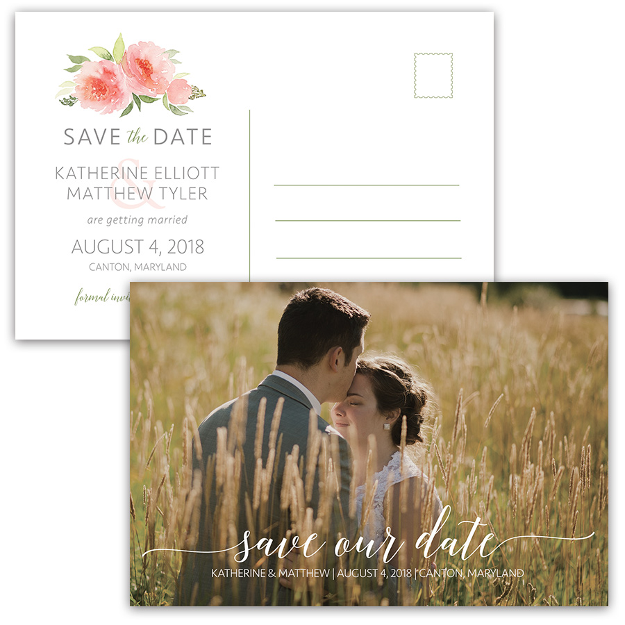 Watercolor Coral Floral Photo Save the Date Postcards