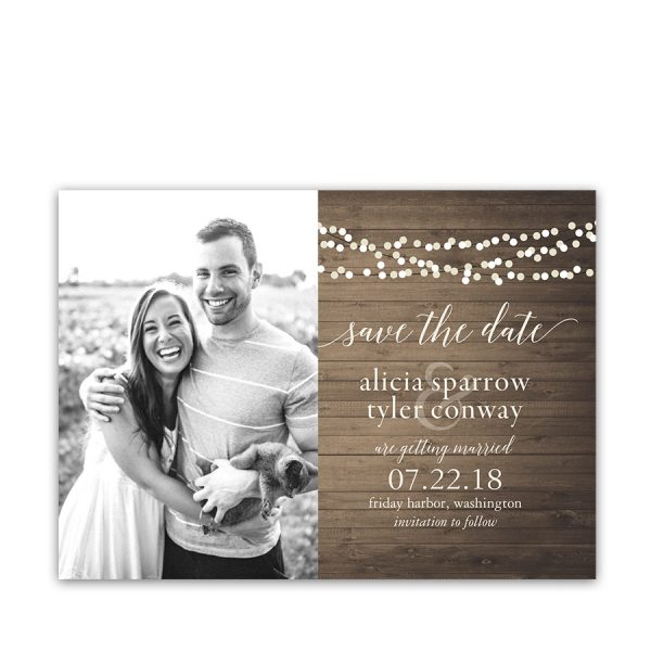 Rustic Country Wedding Photo Save the Date Cards