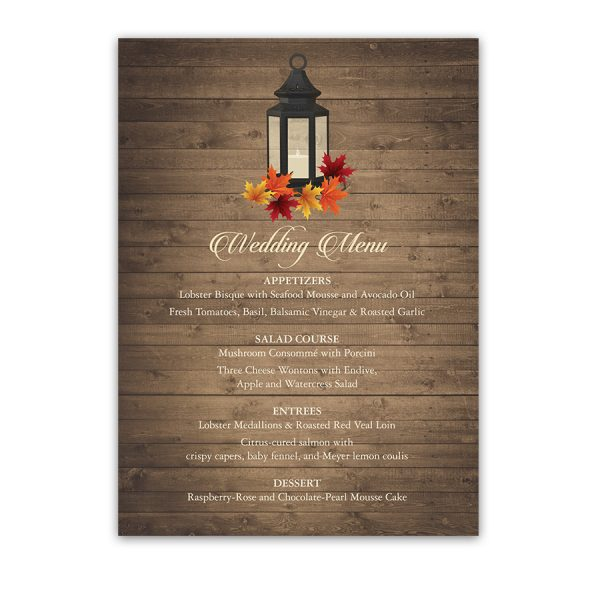 Rustic Fall Leaves Custom Wedding Menu Metal Lantern