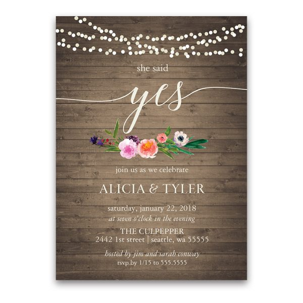 Watercolor Floral She Said Yes Engagement Party Invitation