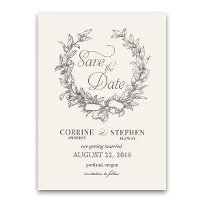 Wreath Wedding Save the Date with Vintage Urban Style