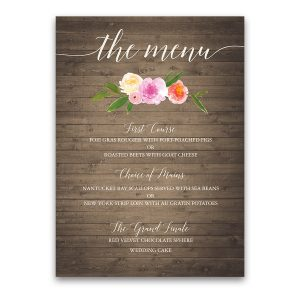 Rustic Watercolor Floral Coral Custom Wedding Menu