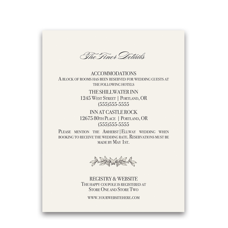 Wedding Guest Information Cards Vintage Greenery