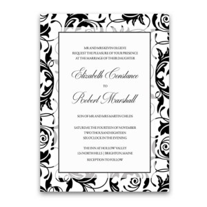 Damask Wedding Invitations Black and White Swirls