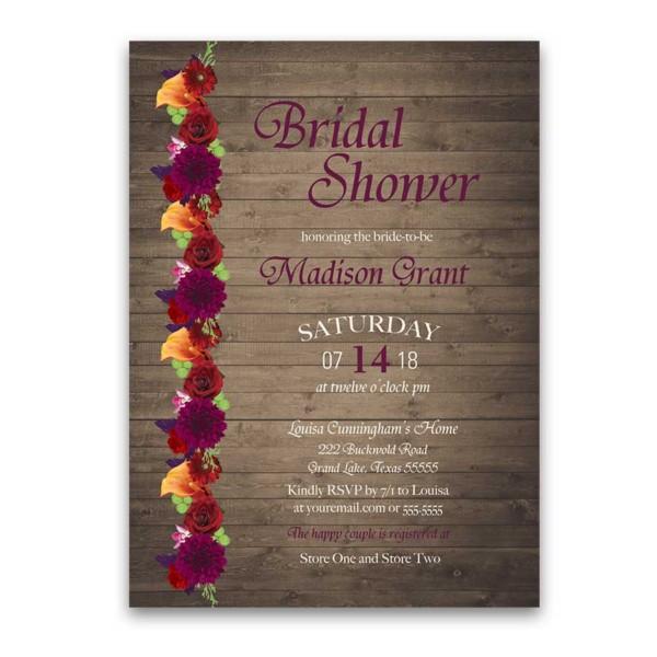 Rustic Fall Floral Plum Marsala Bridal Shower Invitations