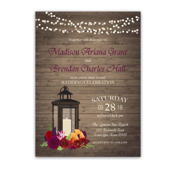 Fall Wedding Invitations Metal Lantern Plum Fall Florals