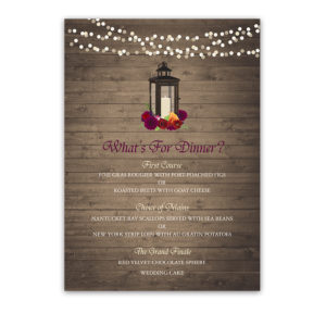 Rustic Wedding Menus Fall Florals on Barn Wood