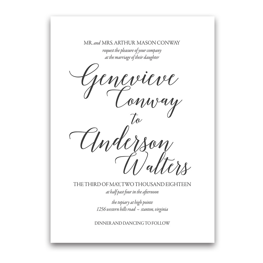Modern Script Calligraphy Wedding Invitations