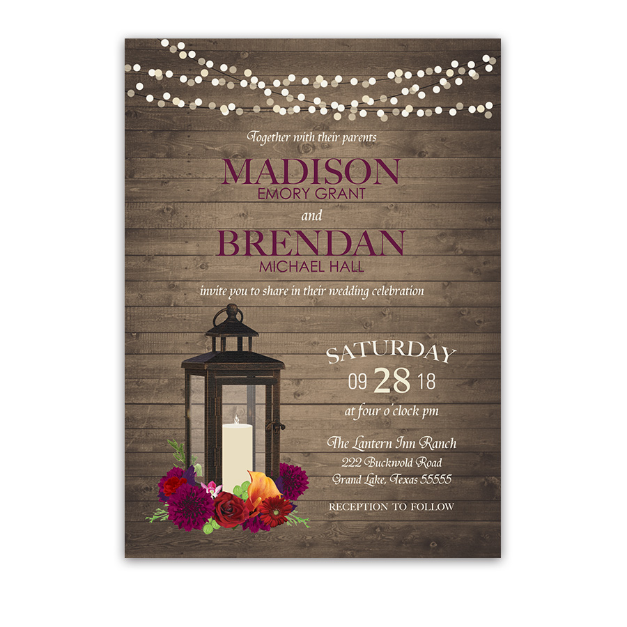Lantern Wedding Invitations Rustic Fall Plum Florals