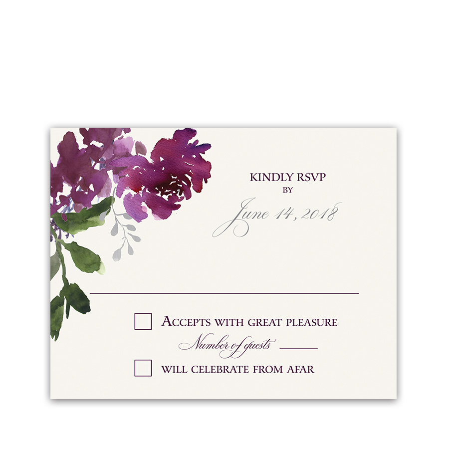 Burgundy Plum Floral Watercolor Wedding RSVP Cards